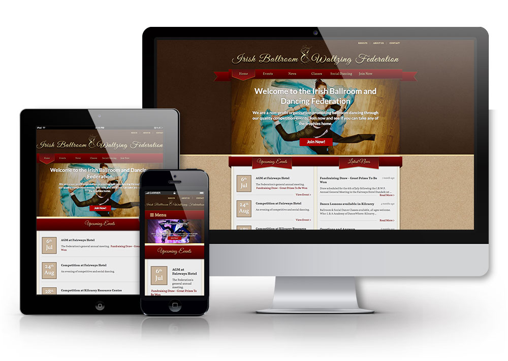 Ballroom Dancing site on different devices