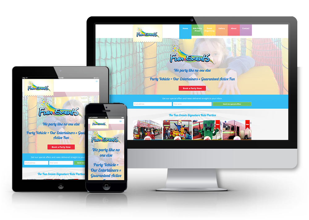 Fun Events event organisers responsive website