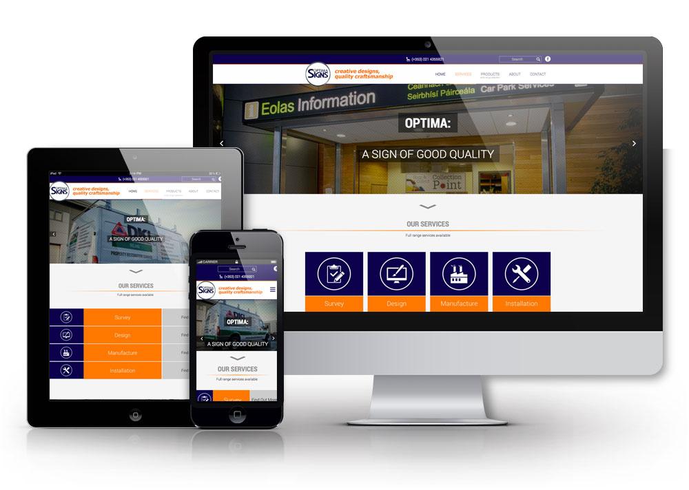 Optima Signs Cork Responsive website redesign