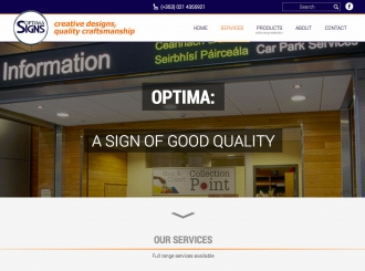 Optima Signs Cork Responsive website redesign